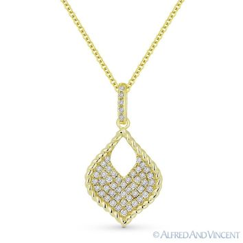 0.22 ct Round Cut Diamond Pave 14k Yellow Gold Marquise Pendant & Chain Necklace