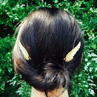 Gold Wing Hair Pin, Gold Bobby Pin, Gold Barrette, Wing Bobby Pin, Gold Wings, Wedding Hair, Angel Hair, Boho Hair, Festival Hair