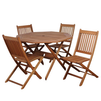 Milano Eucalyptus Octogonal Patio Dining Set - (Set of 5)