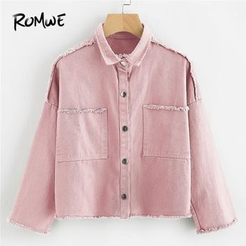 Trendy ROMWE Pink Lapel Slogan Embroidered Back Trim Denim Jacket Women Clothes Long Sleeve Fashion Single Breasted Pockets Jackets AT_94_13