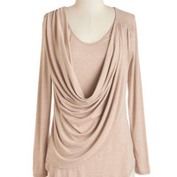 Long Long Sleeve Draped in Delight Long-Sleeved Top in Sand