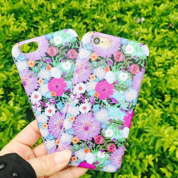 Purple Floral iPhone 7 se 5s 6 6s Plus Case Cover +Nice Gift Box +Elephant Ring 356