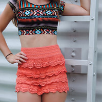 Crochet Lace Shorts (Coral)