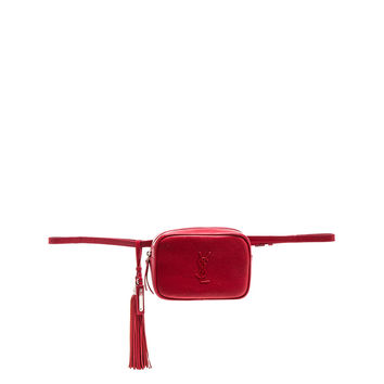 Saint Laurent Monogramme Lou Hip Belt with Pouch in Eros Red | FWRD