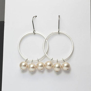 Open Circle Earrings / Cream Pearl Earrings / Thin Silver Hoops / Thin Hoop Earrings / Pearl Hoop Earrings / Pearl Chandelier Earrings