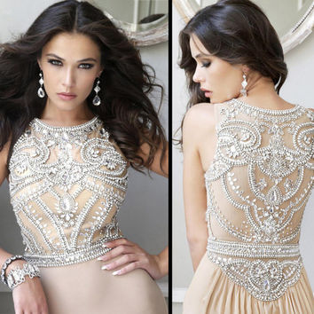 Custom Size Sleeveless Navy Nude High Boat Neck Extensive Crystal Bead Work Formal Evening Red Dresses Long Prom Ball Party Bridesmaid Dress