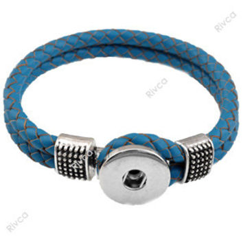 P00047 -8  Snap Button Bracelet&Bangles Fashion Woven Leather Charm Bracelet For woman Fit 18mm Rivca Snap Button Jewelry