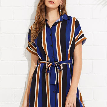 Tie Waist Striped Shirt Dress