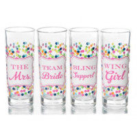 Confetti Bachelorette Party Shot Glasses, Set of 4