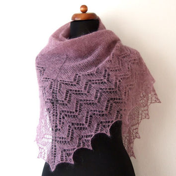 knit triangle shawl, lace scarf, dark rose wrap, ready to ship