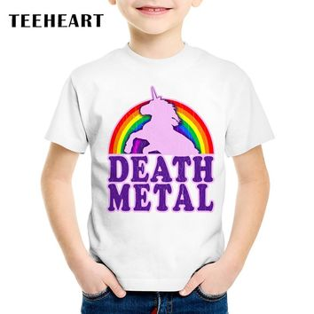 TEEHEART Summer T shirt Boys/girls's Modal Rainbow Unicorn Death Metal Printed T-Shirts 18M-10T Children Casual Clothing TA566