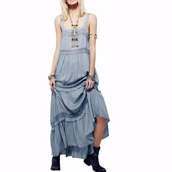 Simply Peasant Slip Maxi Dress Elegant Spaghetti Strap Women Dresses Patchwork Crochet Lace Ruffle Tiered Loose Hem