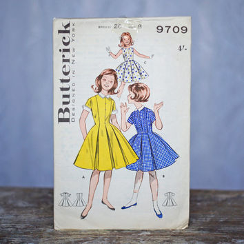 Vintage Girl's Dress Sewing Pattern 1950's Butterick 9709, Size 8 Girls Party Dress Box Pleated, princess cut and peter pan collar