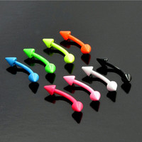 Neon Coloured Steel Curved Spiked Eyebrow Earring Body Piercing Barbell 16g 8mm