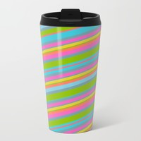 Summer Stripes Metal Travel Mug by Texnotropio