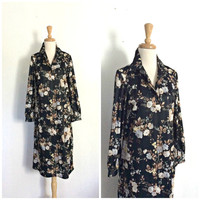 Vintage Black Floral Dress - 70s dress - pullover - day dress - knee length - long sleeve - M L
