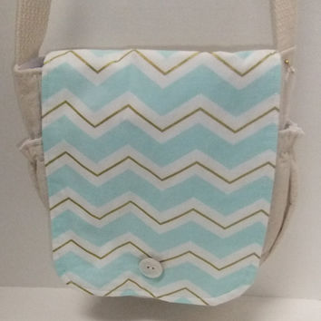 Mint and gold chevron fabric messenger bag - crossover purse - crossbody bag with lots of pockets