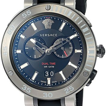 Versace Men's 'V-EXTREME PRO' Swiss Quartz Stainless Steel and Silicone Casual Watch, Color:Black (Model: VCN020017)