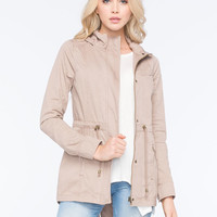 Full Tilt Hooded Twill Womens Anorak Jacket Khaki  In Sizes