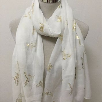 Free shipping ! Fashion bird and butterfly  with gold  foil print Scarf