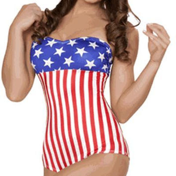 Sexy Pin Up American Flag Romper