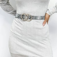 My Sparkle Double Gold Ring Snakeskin Belt