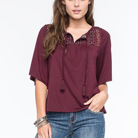 Full Tilt Embroidered Lace Womens Peasant Top Burgundy  In Sizes