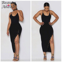 2017 Latest desig Black Sexy Sling Dress Autumn Style Women Dress Side Slits Backless Plus Size Club Dresses  Button dress