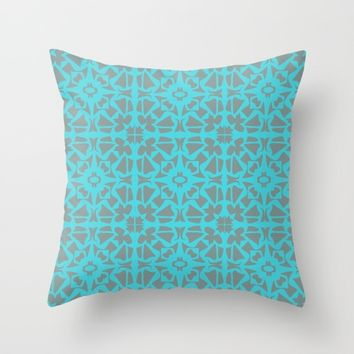 Turquoise and Gray Pattern  Throw Pillow by Xiari
