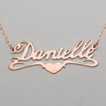 """18k Rose Gold-Plated """"Heart Bit"""" Style Name Necklace Personalize with any name or word of your choice"""