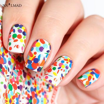 1 sheet Polka Dots Nail Water Decals Rainbow Dots Nail Art Sticker Tattoo Decals Water Slide