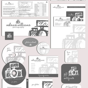 26 Pc. Photography business forms kit and marketing set sketched camera grey and white - all editable psd files