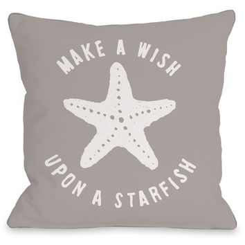 """Make A Wish Upon A Starfish"" Indoor Throw Pillow by OneBellaCasa, 16""x16"""