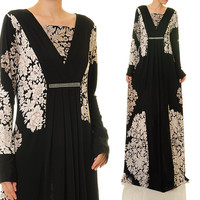 Pleated Diamente Floral Jersey Black Abaya Long Sleeves Maxi Dress - Size S/M/L or Plus Size 1X/2X (6335/2993)