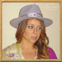 "Lilac Vintage Fedora ""Scala"" Hat with Vintage Albert Nippon Scarf and handmade beaded tassel of vintage beads"