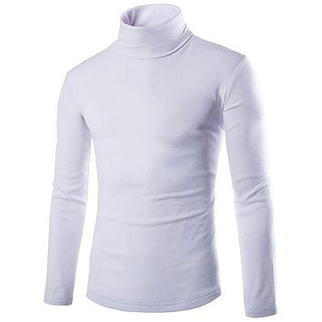 Casual Turtleneck Cotton Tops