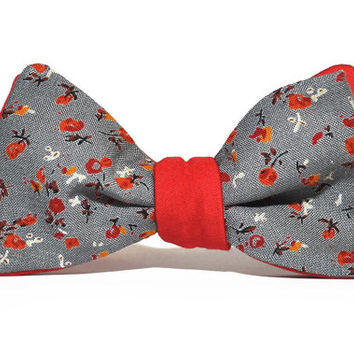 Handmade cotton bowtie, bowtie for men, bowtie from cotton, reversible bowtie, Grey-Red Flowered, Red-Grey Flowered