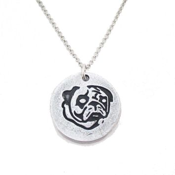 Hand Stamped Pug Puppy Coin Pendant Necklace in Silver | Animal Jewelry
