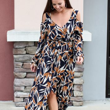 To The Garden Cold-Shoulder Maxi Dress