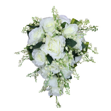 Cascade Bridal Bouquet-Nice roses with lily of the valley