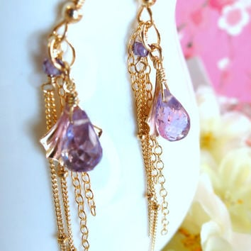 Purple amethyst gold shell tassle dangle earrings