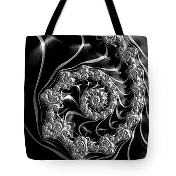Fractal Steampunk Spiral Black And White Tote Bag