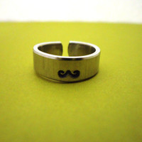 Mustache Ring - Aluminum Rings - Adjustable - Hand Stamped Rings Set
