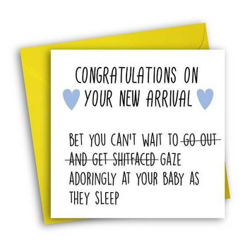 Can't Wait To Go Out Get Shitfaced Funny New Baby Congratulations Card Pregnancy Card Baby Shower Card FREE SHIPPING