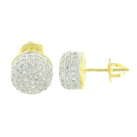 Round Design Mens Earrings Dome Shape 10 MM Yellow Gold Finish