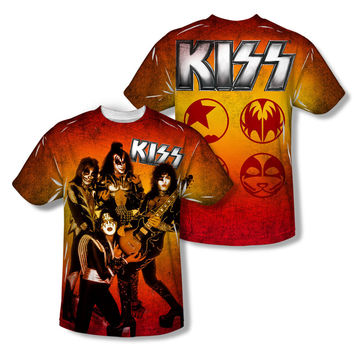 KISS Men's  Fire Pose Sublimation T-shirt White Rockabilia