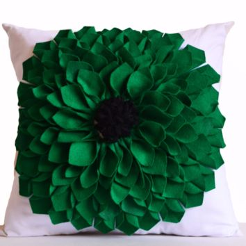 Handcrafted White Pillow Cover With Big Green Felt Flower