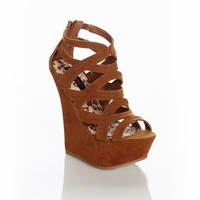 Urban Drama Strappy Wedge in Dark Brown