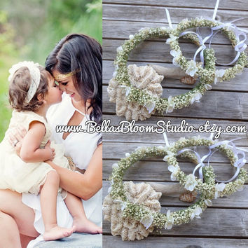 Mommy and Me Floral Crown Set, Baby's Breath & Ivory Flower Crown - Mommy and Me Photo prop,Dried Floral crown,Toddler flower crown  etsy