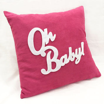 Oh Baby Fuchsia And White Pillow Cover. Children Room Nursery Decorative Cushion Cover. COLOR Choice. Baby Shower Gift